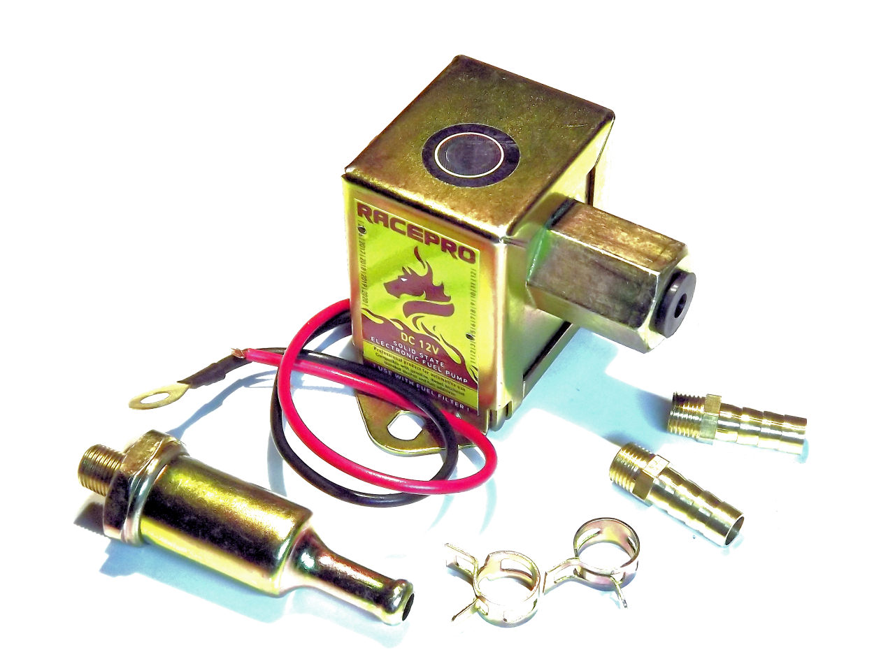 Racepro 40105 Fuel Pump Electric 12v Square Universal Facet Filters 8mm Unions Hose Clips And Filter Included